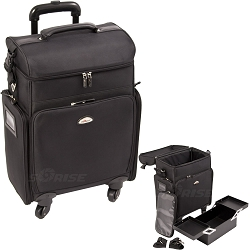 All Black Soft_Sided Professional 4-Wheels Carry-On Rolling Makeup Case With IpadTablet Holder (C6017NLAB)