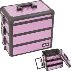 PurpleBlack Interchangeable Stackable Tray Diamond Pattern Professional Aluminum Cosmetic Makeup Case With Dividers (E3303DMPLB)