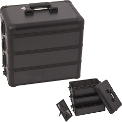 All Black Interchangeable Stackable Tray Professional Aluminum Cosmetic Makeup Case With Dividers (E3303PPAB)