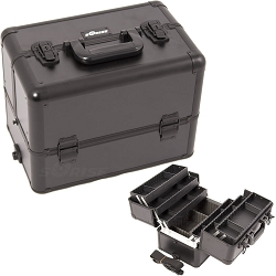 All Black Interchangeable 6-Tiers Extendable Tray Professional Aluminum Cosmetic Makeup Case With Dividers (E3304PPAB)