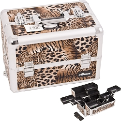 Brown Interchangeable 8-Tiers Extendable Tray Leopard Textured Printing Professional Aluminum Cosmetic Makeup Case With Multiple Compartments (E3306LPBR)