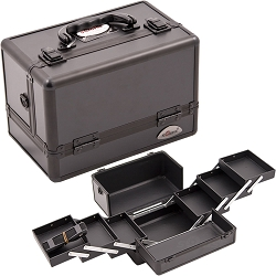 3-Tiers Expandable Trays All Black Makeup Case (C0001PPAB)