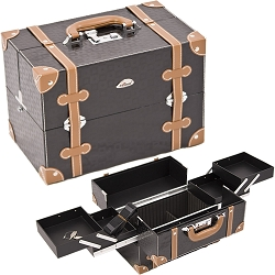 Black Square And Brown Trimming 2-Tiers Easy Slide Trays Professional Cosmetic Makeup Case With Dividers (C3019PVBK)