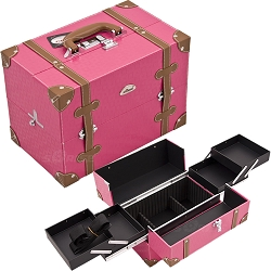 Hot Pink Square And Brown Trimming 2-Tiers Easy Slide Trays Professional Cosmetic Makeup Case With Dividers (C3019PVHP)