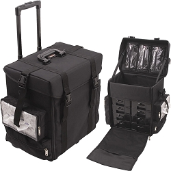 All Black Soft-Sided Nylon Professional Rolling Makeup Case With Drawers & Bags (C6024NLAB)