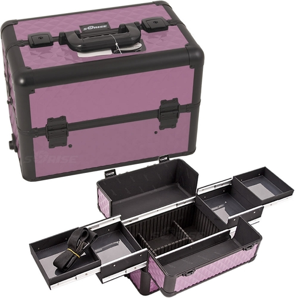 PurpleBlack Interchangeable Easy Slide Tray Diamond Pattern Professional Aluminum Cosmetic Makeup Case With Dividers (E3301DMPLB)