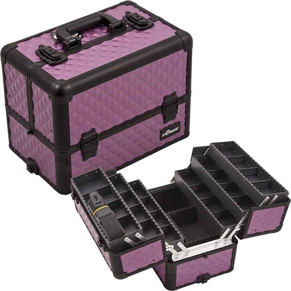 PurpleBlack Interchangeable 6-Tiers Extendable Tray Diamond Pattern Professional Aluminum Cosmetic Makeup Case With Dividers (E3304DMPLB)