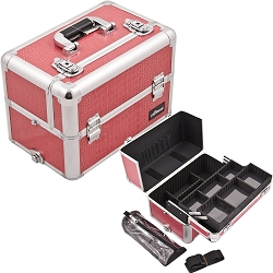 Hot Pink Interchangeable Easy Slide & Extendable Tray Crocodile Textured Printing Professional Aluminum Cosmetic Makeup Case With Dividers Brush Holder And Clear Bag (E3307CRHP)