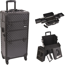 Black Diamond Pattern 4-Wheel Professional Rolling Aluminum Cosmetic Makeup Case And Easy-Slide Trays (I3161DMAB)