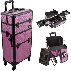 Purple Diamond Pattern 4-Wheel Professional Rolling Aluminum Cosmetic Makeup Case And Easy-Slide Trays (I3161DMPLB)