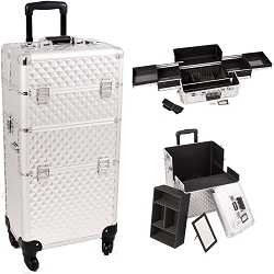 Silver Diamond Pattern 4-Wheel Professional Rolling Aluminum Cosmetic Makeup Case And Easy-Slide Trays (I3161DMSL)
