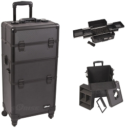 Black Dot Pattern 4-Wheel Professional Rolling Aluminum Cosmetic Makeup Case And Easy-Slide Trays (I3161DTAB)