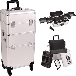 Silver Dot Pattern 4-Wheel Professional Rolling Aluminum Cosmetic Makeup Case And Easy-Slide Trays (I3161DTSL)