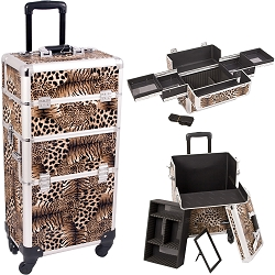 Leopard Printing Texture 4-Wheel Professional Rolling Aluminum Cosmetic Makeup Case And Easy-Slide Trays (I3161LPBR)