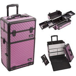 Purple Diamond Pattern Professional Rolling Aluminum Cosmetic Makeup Case With Split Drawers And Easy-Slide Trays (I3162DMPLB)
