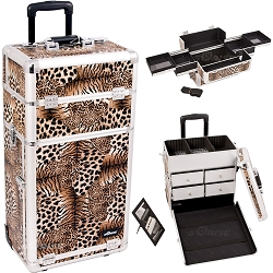 Leopard Textured Printing Professional Rolling Aluminum Cosmetic Makeup Case With Split Drawers And Easy-Slide Trays (I3162LPBR)