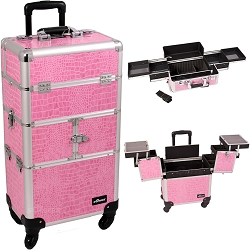 Pink Crocodile Printing Texture 3-Tiers Accordion Trays 4-Wheels Professional Rolling Aluminum Cosmetic Makeup Case And Easy-Slide Trays (I3164CRPK)