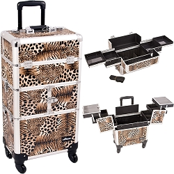 Leopard Printing Textured 3-Tiers Accordion Trays 4-Wheels Professional Rolling Aluminum Cosmetic Makeup Case And Easy-Slide Trays (I3164LPBR)