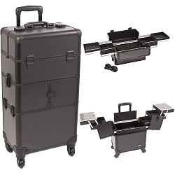 Black Smooth Pattern 3-Tiers Accordion Trays 4-Wheels Professional Rolling Aluminum Cosmetic Makeup Case And Easy-Slide Trays (I3164PPAB)