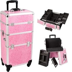 Pink Crocodile Printing Texture 4-Wheel Professional Rolling Aluminum Cosmetic Makeup Case And Easy-Slide & Extendable Trays With Dividers (I3261CRPK)