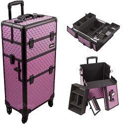 Purple Diamond 4-Wheel Professional Rolling Aluminum Cosmetic Makeup Case And Easy-Slide & Extendable Trays With Dividers (I3261DMPLB)
