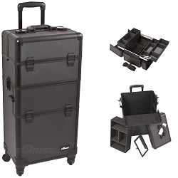Black Dot 4-Wheel Professional Rolling Aluminum Cosmetic Makeup Case And Easy-Slide & Extendable Trays With Dividers (I3261DTAB)