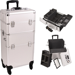 Silver Dot 4-Wheel Professional Rolling Aluminum Cosmetic Makeup Case And Easy-Slide & Extendable Trays With Dividers (I3261DTSL)