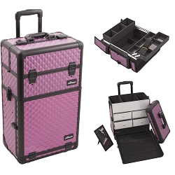 Purple Diamond Pattern Professional Rolling Aluminum Cosmetic Makeup Case With Split Drawers And Easy-Slide And Extendable Trays With Dividers (I3262DMPLB)