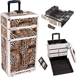 Leopard Textured Printing Professional Rolling Aluminum Cosmetic Makeup Case With Split Drawers And Easy-Slide And Extendable Trays With Dividers (I3262LPBR)