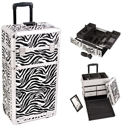 Zebra Printing Texture Professional Rolling Aluminum Cosmetic Makeup Case With Split Drawers And Easy-Slide And Extendable Trays With Dividers (I3262ZBWH)