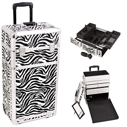 Zebra Printing Texture Professional Rolling Aluminum Cosmetic Makeup Case With Large Drawers And Easy-Slide And Extendable Trays With Dividers (I3263ZBWH)