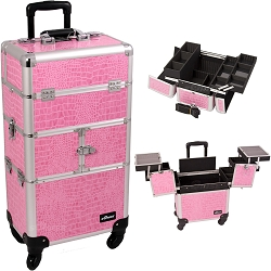 Pink Crocodile Printing Texture 3-Tiers Accordion Trays 4-Wheels Professional Rolling Aluminum Cosmetic Makeup Case And Easy-Slide Trays And Extendable Trays With Dividers (I3264CRPK)