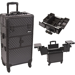 Black Diamond Pattern 3-Tiers Accordion Trays 4-Wheels Professional Rolling Aluminum Cosmetic Makeup Case And Easy-Slide Trays And Extendable Trays With Dividers (I3264DMAB)