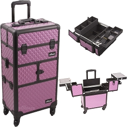 Purple Diamond Pattern 3-Tiers Accordion Trays 4-Wheels Professional Rolling Aluminum Cosmetic Makeup Case And Easy-Slide Trays And Extendable Trays With Dividers (I3264DMPLB)