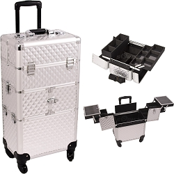 Silver Diamond Pattern 3-Tiers Accordion Trays 4-Wheels Professional Rolling Aluminum Cosmetic Makeup Case And Easy-Slide Trays And Extendable Trays With Dividers (I3264DMSL)