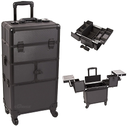 Black Dot Pattern 3-Tiers Accordion Trays 4-Wheels Professional Rolling Aluminum Cosmetic Makeup Case And Easy-Slide Trays And Extendable Trays With Dividers (I3264DTAB)