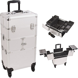 Silver Dot Pattern 3-Tiers Accordion Trays 4-Wheels Professional Rolling Aluminum Cosmetic Makeup Case And Easy-Slide Trays And Extendable Trays With Dividers (I3264DTSL)
