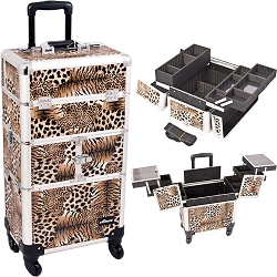 Leopard Printing Textured 3-Tiers Accordion Trays 4-Wheels Professional Rolling Aluminum Cosmetic Makeup Case And Easy-Slide Trays And Extendable Trays With Dividers (I3264LPBR)