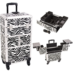 Zebra Printing Texture 3-Tiers Accordion Trays 4-Wheels Professional Rolling Aluminum Cosmetic Makeup Case And Easy-Slide Trays And Extendable Trays With Dividers (I3264ZBWH)