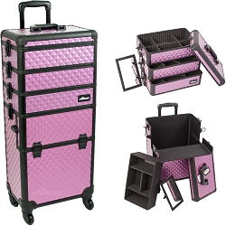 Purple Diamond Pattern 4-Wheels Professional Rolling Aluminum Cosmetic Makeup Case And Stackable Trays With Dividers (I3361DMPLB)