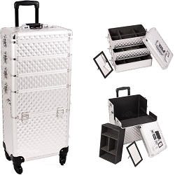 Silver Diamond Pattern 4-Wheels Professional Rolling Aluminum Cosmetic Makeup Case And Stackable Trays With Dividers (I3361DMSL)