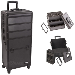Black Dot Pattern 4-Wheels Professional Rolling Aluminum Cosmetic Makeup Case And Stackable Trays With Dividers (I3361DTAB)