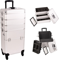 Silver Dot Pattern 4-Wheels Professional Rolling Aluminum Cosmetic Makeup Case And Stackable Trays With Dividers (I3361DTSL)