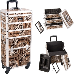 Leopard Printing Texture 4-Wheels Professional Rolling Aluminum Cosmetic Makeup Case And Stackable Trays With Dividers (I3361LPBR)