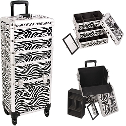 Zebra Printing Texture 4-Wheels Professional Rolling Aluminum Cosmetic Makeup Case And Stackable Trays With Dividers (I3361ZBWH)