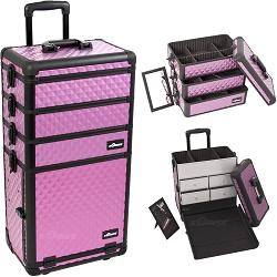 Purple Diamond Pattern Professional Rolling Aluminum Cosmetic Makeup Case With Split Drawers And Stackable Trays With Dividers (I3362DMPLB)