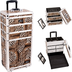 Leopard Textured Printing Professional Rolling Aluminum Cosmetic Makeup Case With Split Drawers And Stackable Trays With Dividers (I3362LPBR)