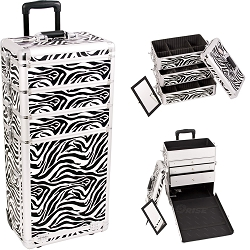 Zebra Textured Printing Professional Rolling Aluminum Cosmetic Makeup Case With Large Drawers And Stackable Trays With Dividers (I3363ZBWH)