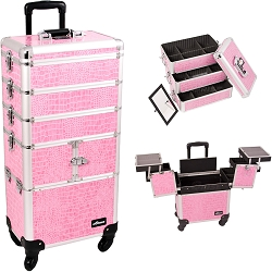 Pink Crocodile Printing Texture 3-Tiers Accordion Trays Professional Rolling Aluminum Cosmetic Makeup Case And Stackable Trays With Dividers (I3364CRPK)