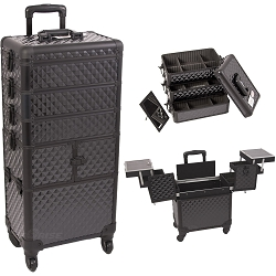 Black Diamond Pattern 3-Tiers Accordion Trays Professional Rolling Aluminum Cosmetic Makeup Case And Stackable Trays With Dividers (I3364DMAB)